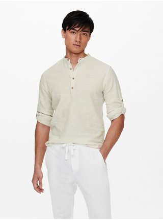 Krémové lněné tričko ONLY & SONS Caiden