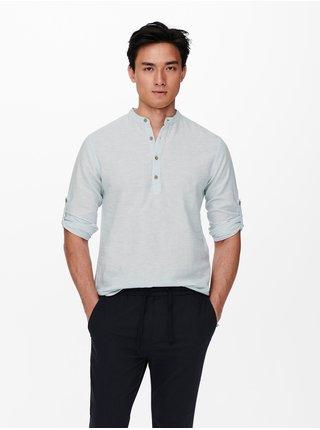 Krémové ľanové tričko ONLY & SONS Caiden
