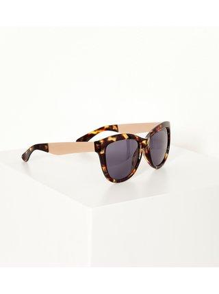 Hnědé vzorované sluneční brýle CAMAIEU