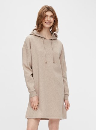 Béžové mikinové šaty s kapucí Pieces Chilli