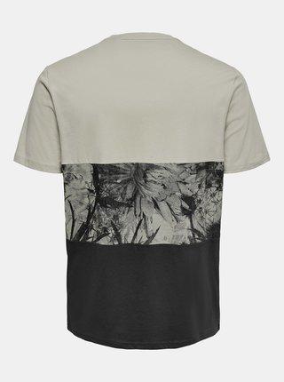 Černo-šedé vzorované tričko ONLY & SONS Teddy