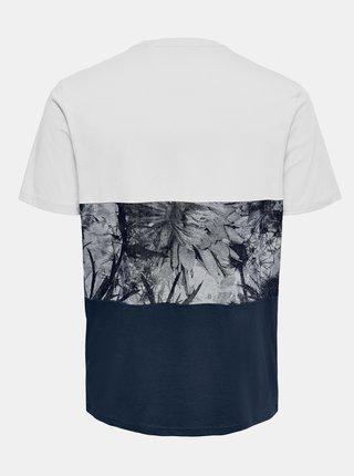 Bílo-modré vzorované tričko ONLY & SONS Teddy
