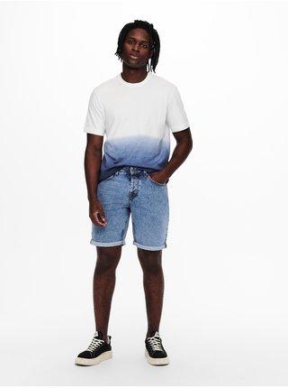 Tričká s krátkym rukávom pre mužov ONLY & SONS - modrá, biela