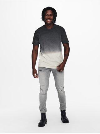 Tričká s krátkym rukávom pre mužov ONLY & SONS - čierna, sivá