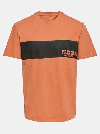 Oranžové tričko s potiskem ONLY & SONS True