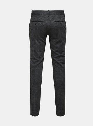 Tmavošedé kockované nohavice ONLY & SONS Mark