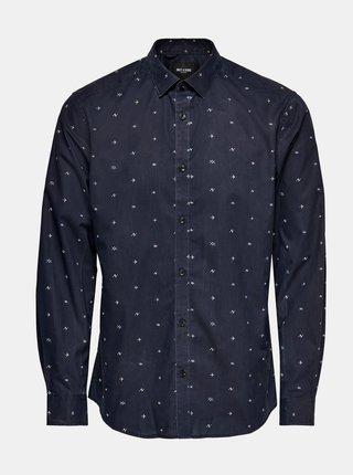 Tmavomodrá vzorovaná košeľa ONLY & SONS Sane