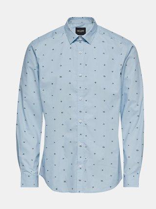 Svetlomodrá vzorovaná košeľa ONLY & SONS Sane