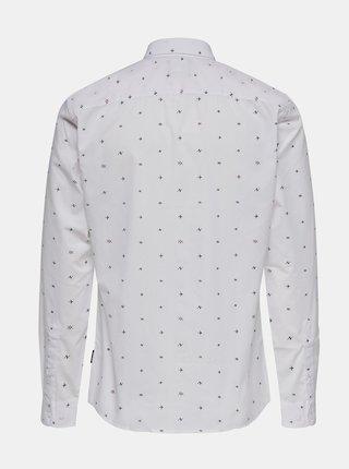 Biela vzorovaná košeľa ONLY & SONS Sane