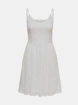 Biele krajkované šaty ONLY New Alba