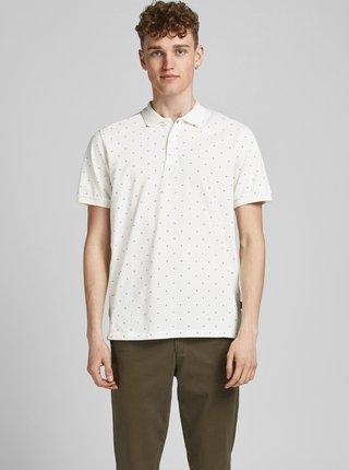 Krémové vzorované polo tričko Jack & Jones Gabriel