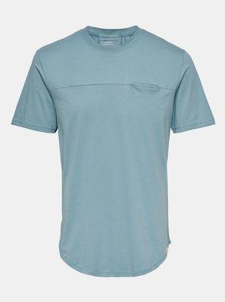 Modré tričko s kapsou ONLY & SONS Dash