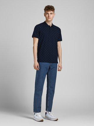 Tmavě modré vzorované polo tričko Jack & Jones Gabriel