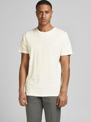 Krémové vzorované tričko Jack & Jones Gabriel