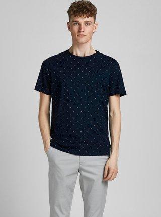 Tmavě modré vzorované tričko Jack & Jones Gabriel