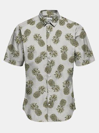 Zeleno-krémová vzorovaná košile s krátkým rukávem ONLY & SONS Kaspar