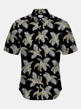 Šedo-černá vzorovaná košile s krátkým rukávem ONLY & SONS Kalle