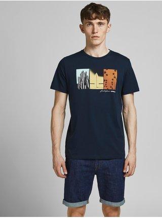 Tmavě modré tričko s potiskem Jack & Jones Octo