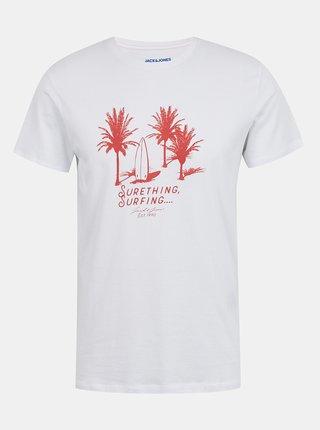 Biele tričko s potlačou Jack & Jones Treams