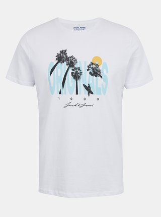 Biele tričko s potlačou Jack & Jones Octo