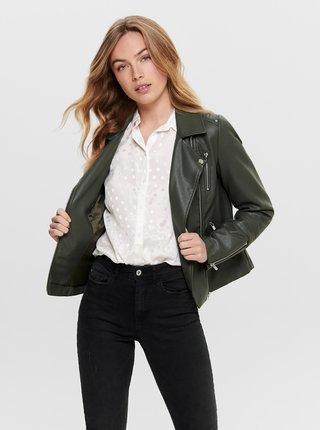 Tmavozelená koženková bunda ONLY Gemma