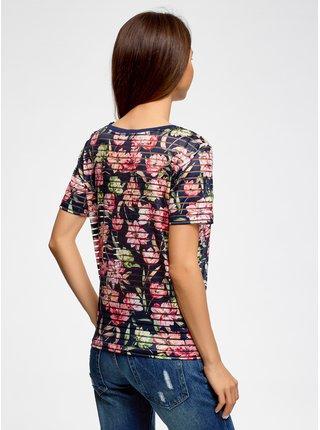 Tričko zkrácené z pruhované látky OODJI