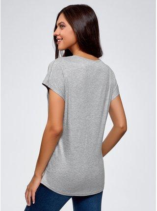 Tričko z viskózy se zakulaceným spodkem OODJI
