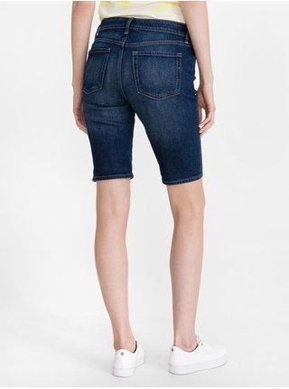 Modré dámské kraťasy mid rise 9 denim bermuda shorts