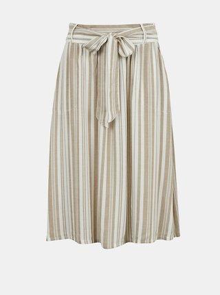 Béžovo-biela pruhovaná sukňa ONLY Manhattan