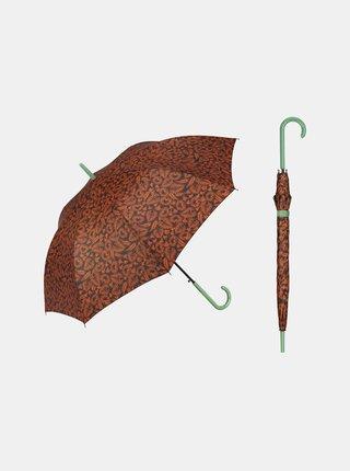 Cachemir Elegance dámský holový vystřelovací deštník - Hnědá