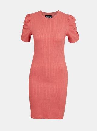 Ružové púzdrové šaty Pieces Lunna