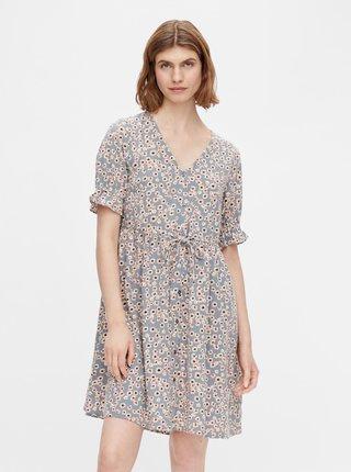 Modré květované šaty Pieces Cindy