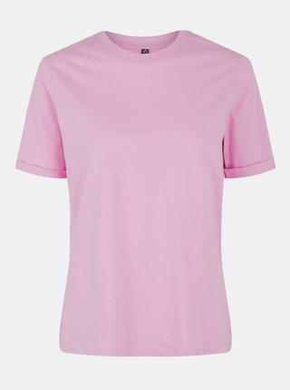 Růžové basic tričko Pieces Ria