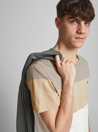 Béžovo-krémové pruhované tričko Jack & Jones Blarepeat