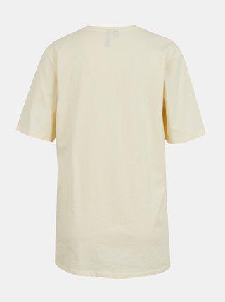 Krémové voľné tričko s potlačou Pieces Tuhila
