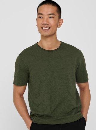 Tmavě zelené tričko ONLY & SONS Albert