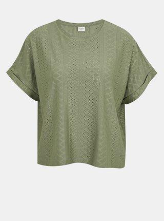 Zelené vzorované tričko Jacqueline de Yong Fatinka