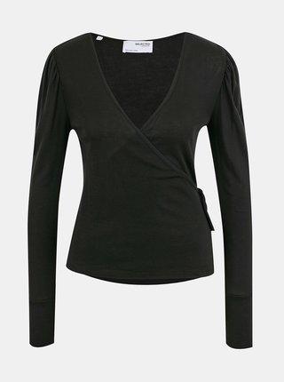 Černé zavinovací tričko Selected Femme Hope