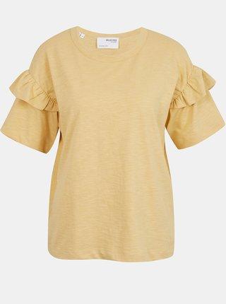 Tričká s krátkym rukávom pre ženy Selected Femme - žltá