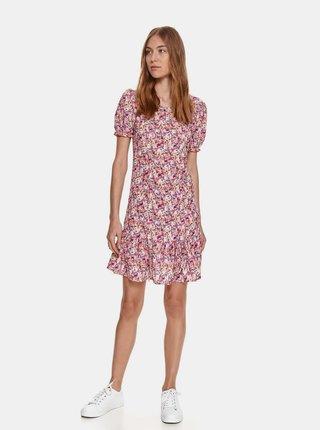 Růžové květované šaty s volánem TOP SECRET