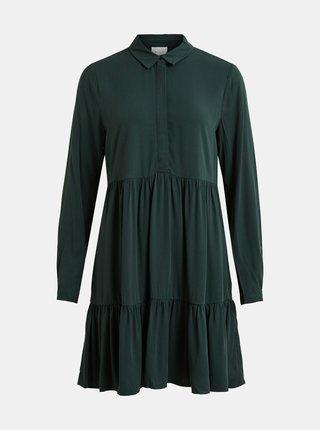 Tmavozelené košeľové šaty s volánmi VILA Rose