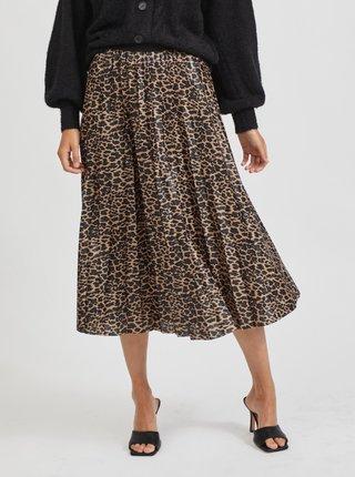 Hnědá vzorovaná plisovaná midi sukně VILA Vinitban