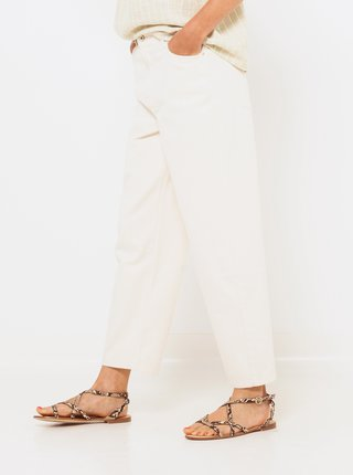Krémové straight fit kalhoty CAMAIEU