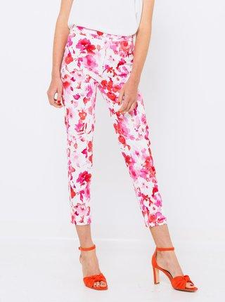 Růžovo-bílé květované kalhoty CAMAIEU