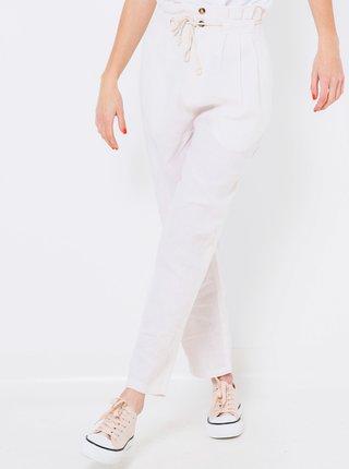Bílé lněné kalhoty s vysokým pasem CAMAIEU