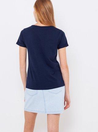 Tmavě modré tričko s nápisem CAMAIEU