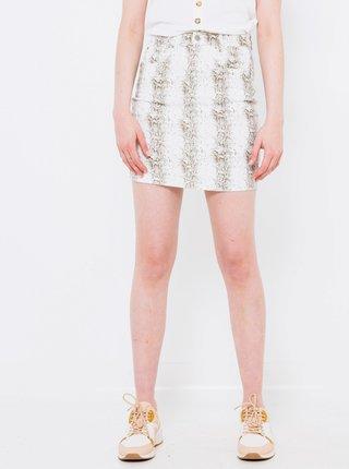 Bílá vzorovaná pouzdrová sukně CAMAIEU