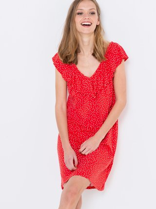 Červené puntíkované šaty s volány CAMAIEU