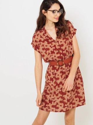 Cihlové květované košilové šaty CAMAIEU
