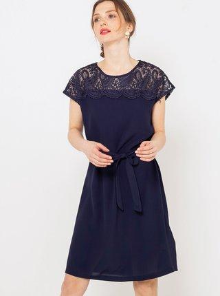 Tmavě modré šaty s krajkou CAMAIEU